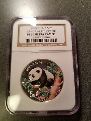 1998 China 1/2 oz. Colorized Silver Panda 5 Yuan NGC PF69 Ultra Cameo