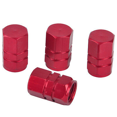 4pcs Universal Car Auto Aluminum Alloy Wheel Tire Valve Stem Cap Cover Red