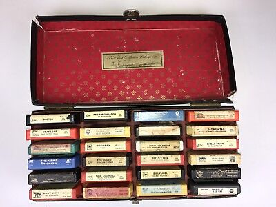 70s 80s Rock 8-track tapes lot of 24 with case ACDC BOSTON KISS JOURNEY ZZ TOP