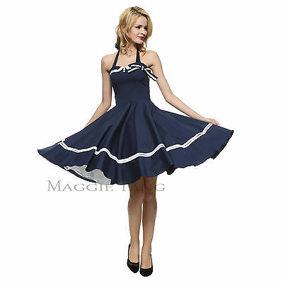 591ee22d4f2 Maggie Tang 50s VTG Pinup Nautical Sailor Rockabilly Swing Party Dress R-515