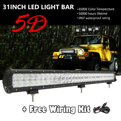 """31""""inch 462W LED Light Bar Car Offroad Combo 5D Fit For Jeep ATV RZR Polaris 30"""""""