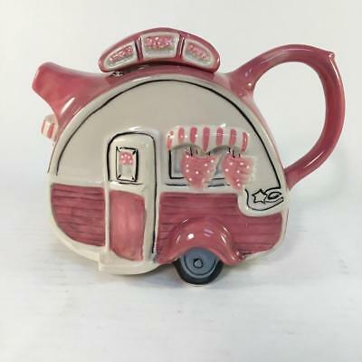 Blue Sky Dining Car Caravan Retro Trailer Camper Pink Teapot NIB Ceramic 14725