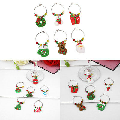 6Pcs/set Christmas Wine Glass Charm Cup Ring Party Xmas Pendant Decor Ornament