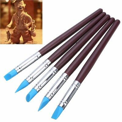 5pc Flexible Black Clay Sculpting Shapers Wipe Out Tools Use in PMC Fimo Polymer