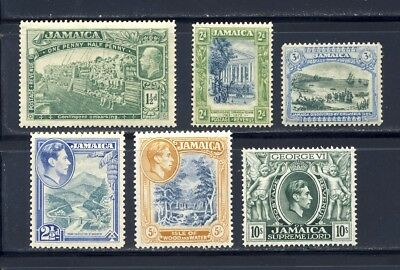 Jamaica small group of earlier King George V and King George VI stamps mnh wmk 4
