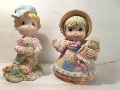 Bisque Figurines Pair Girl Homco Boy Flomo Resin Doll Butterfly