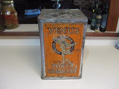 Venus 4 1/2 gallon Power Kerosene tin enamel sign oil bottle  Atlantic union.