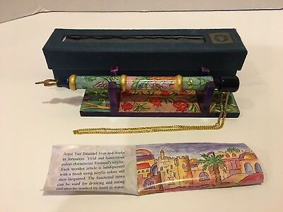 Oriental Handpainted Wooden Torah Pointer (YAD) w/matching Stand by Yair Emanuel