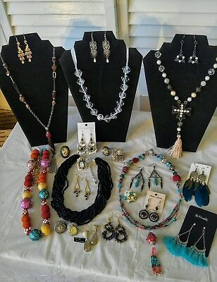 Stunning Costume Jewelry Lot; Boho Chunky Necklaces, Statement Rings & More!
