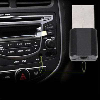 USB Wireless Bluetooth 3.5mm AUX Audio Stereo Music Receiver Adapter Car Black