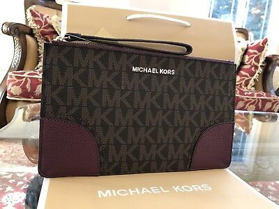 Nwt Michael Kors Signature Pvc Hattie Zip Large Clutch/wristlet In Brown/plum