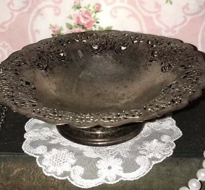 Antique Peacock 1847 ROGERS BROS Pedestal CANDY Trinket DISH Silver Electroplate