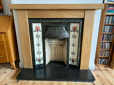 Oak Fire Surround with Arched Cross Board, MADE TO MEASURE - solid rustic oak