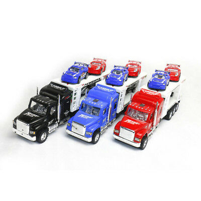 Kids Friction Power Toy Truck Transporter Van with 4 Vehicle Cars Children Gift