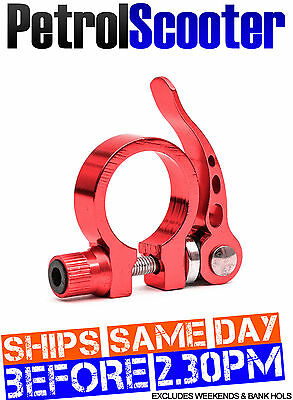 Bike Cycle Bicycle Seat Post Clamp CNC Red Clasp 32 - 35mm Quick Release MTB