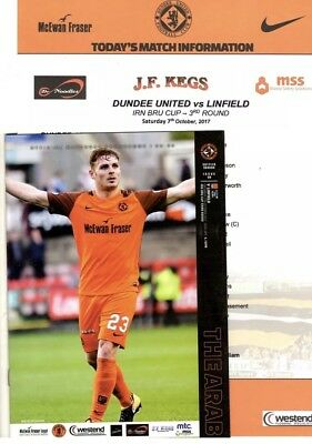 Dundee United v Linfield Irn Bru Cup 3rd round 7th October 2017 + Teamsheet