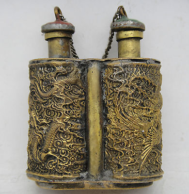 Collectible Handwork Old Copper Carve Might Dragon Conjoined Snuff Bottle