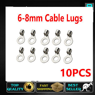 10PCS TINNED COPPER Cable Terminals End Lugs Ring 6-8mm Battery Wire 10-12 AWG
