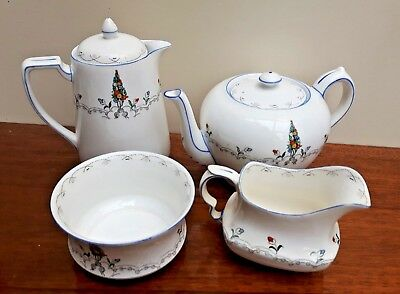 Carlton China  Teaset Teapot, Hot Water Jug Milk/sugar- Springflower 4908 c1930