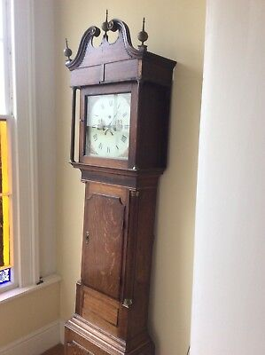 Victorian oak grandfather clock