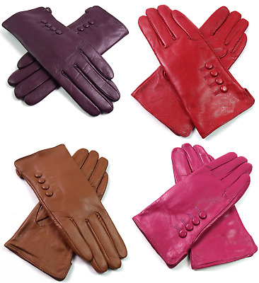 New Womens Ladies Premium Quality Soft Real Leather Gloves Winter Driving Lined