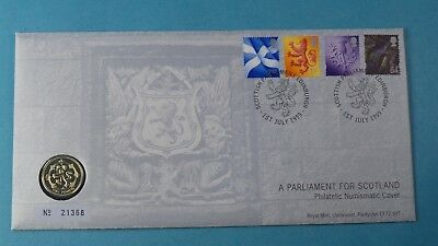 1999 First Day Cover £1 Coin Representing Scotland