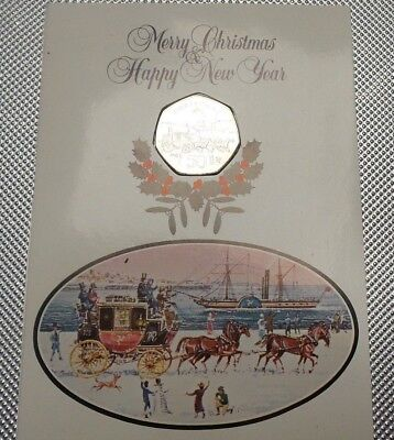 1980 First Day Cover 50P Coin Isle Of Man Christmas  Collection  {7}