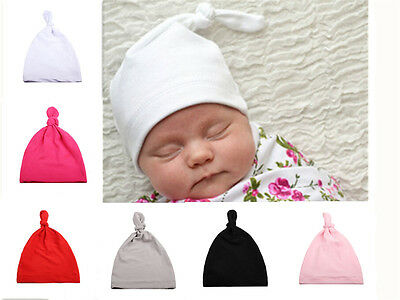 Cotton Beanie Newborn Baby Knotted Hat Boys Girls Soft Cap Infant Toddle AU