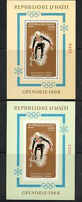 Haiti 1968 #609G Winter Olympics Grenoble skiing PERF & IMPERF sheets  MNH  L192