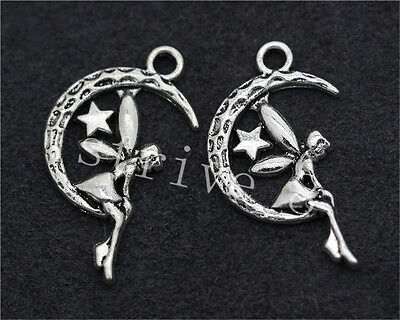 20pcs Antique Silver moon girls Alloy Jewelry Charms Pendant 26x14mm