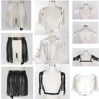 Sexy Women Lady Fringe Skirt Tassel Body Chest Harness Punk Goth Adjustable Belt