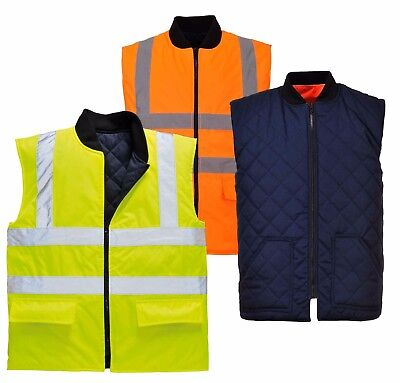Portwest S4629 Mens Hi Vis Reversible Bodywarmer Waterproof Quilted RIS Workwear