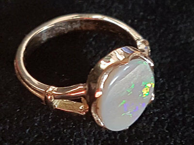 bague ( ring ) OR 18 K & 2.60cts Australian Lightning Ridge poli Cristal Opale P