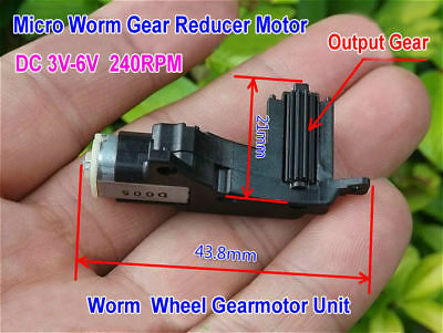DC 3V 5V 6V 240RPM Mini Worm Gear Motor Gearbox Reduction Micro Wheel Gearmotor