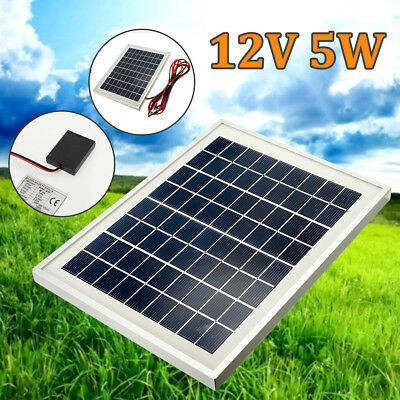 5W 12V Solar Panel Battery Charger w/4m Cable Clips Block Diode Car Boat Caravan