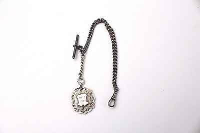 Vintage STERLING SILVER Gent's Single Albert Pocket Watch Chain With Fob - 38g