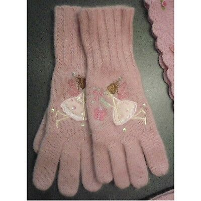 Girls Monsoon Pink Embroidered Gloves Fairy Butterfly Sequins 3-6 Years 3 4 5 6