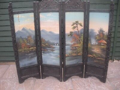 Antique Oriental Screen hand carved hand painted for restoration