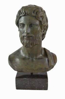 Ancient Greek Asclepius statue bronze bust God of medicine and healing artifact