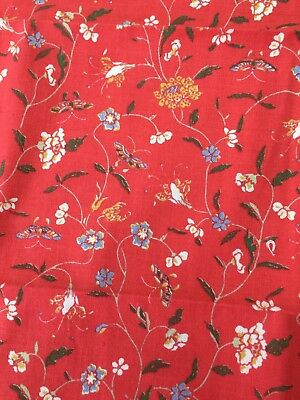 Vintage Laura Ashley fabric piece 1978 - red flowers - sewing patchwork quilting