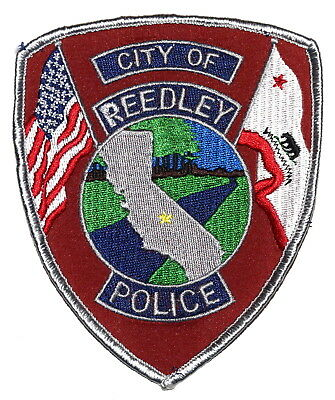 REEDLEY CALIFORNIA CA Police Sheriff Patch STATE SHAPE OUTLINE CITY STAR RED ~