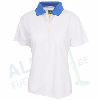 Page & Tuttle Polo for Ladies, Short Sleeve, White/Blue, Size S (34/36)