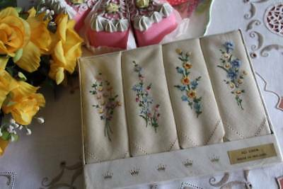 4 Vintage Irish Linen Napkins Hand Embroidered Pretty Flowers Boxed Un-Used