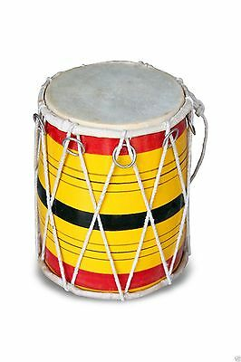 Handmade Rope Tuned Indian Mango Wood Musical Baby Dholak Dholaki 0132