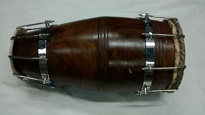 Indian Dholak Drum With Bolt Sheesham Wood Dholaki Bhajan Kirtan Dholak