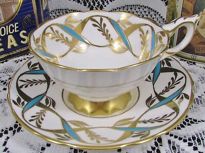 Royal Stafford Turquoise Enamel Gold Gilt Ribbons Tea Cup And Saucer