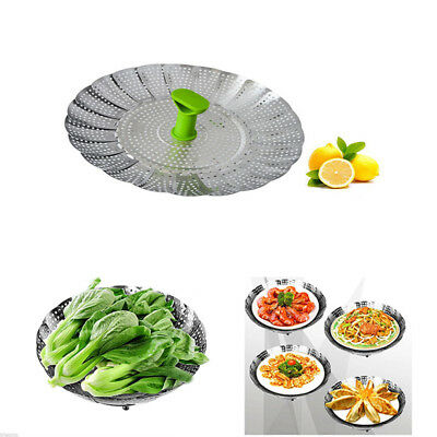 Stainless Steel Folding Steamer Steam Vegetable Basket Mesh Expandable Cooker MN