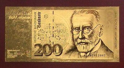Billet 200 DM Deutsche Mark Paul Ehrlich or fin .999 Polymère 24 carats
