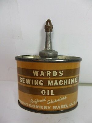 VINTAGE VERY RARE WARDS SEWING MACHINE OIL TIN CAN HANDY OILER LEAD TOP (1oz.)
