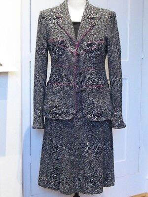 Beautiful Vintage Chanel Black and White Tweed Suit with Purple Piping Size 42
